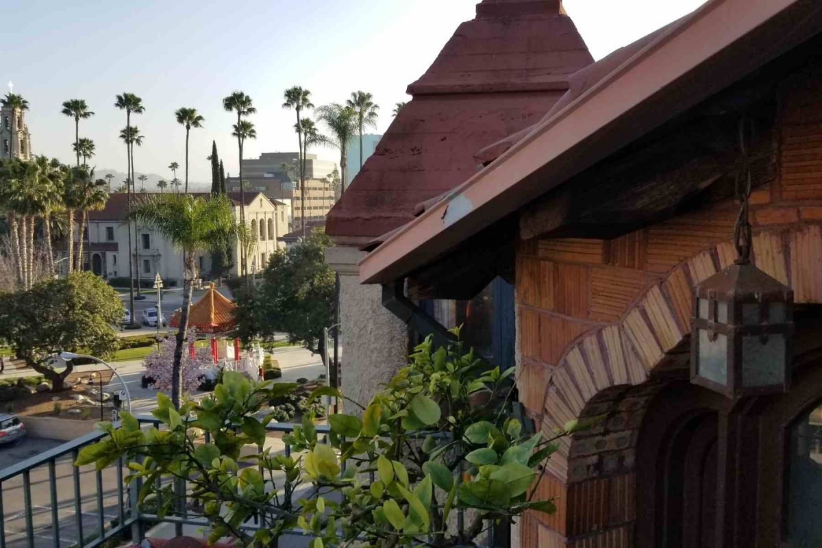 View of Chinese Pavilion in Riverside from Mission Inn