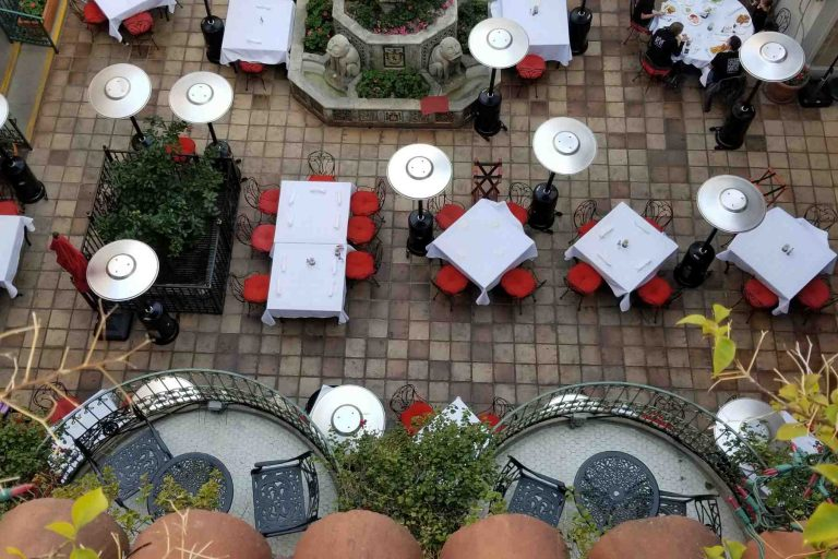 Spanish Patio of Mission Inn, overhead view