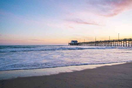 Newport beach pier at sunset