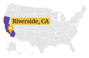 US Map with Riverside marked