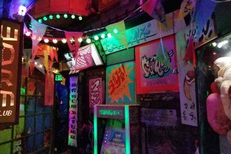 Neon inside Meow Wolf in Santa Fe