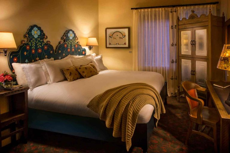 Guest Room at La Fonda with Painted headboard