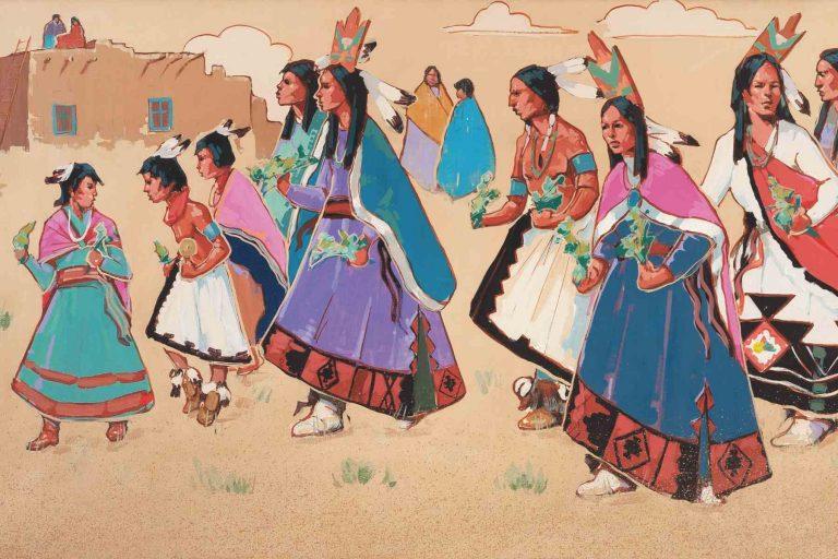 Wall art at La Fonda on the Plaza Native Americans