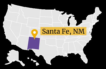 US Map GPS marker Santa Fe, New Mexico