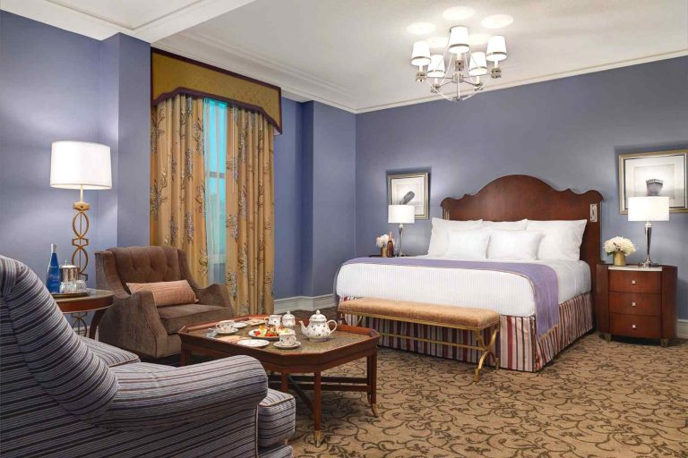 Guest room inside Peabody Hotel