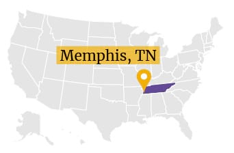 US Map Memphis Tennessee